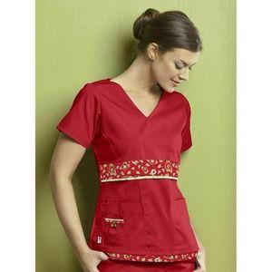 Mary Engelbreit Floral Scrub Shirt Sz XS